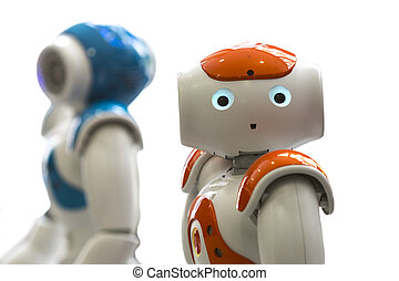 Small robots with human face and body. AI - Small robots...