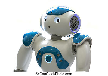 Small robot with human face and body. AI - A small robot...