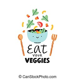 Eat your veggies, vector illustration about healthy eating