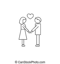 People in love line icon