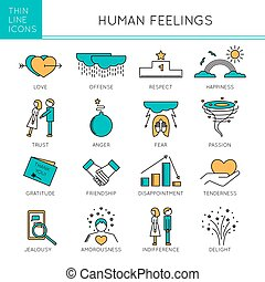 Feelings and emotions set - Thin line icons set, vector...