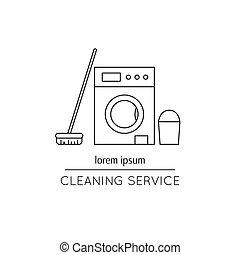 Cleaning service line icon - Vector thin line icon, washer,...