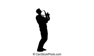 Saxophonist silhouette playing a musical instrument on a...