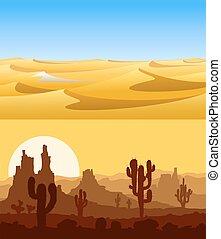 Desert landscapes vector set.