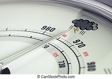 Bad Weather Barometer Close Up - 3D illustration of a...