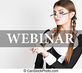 webinar written on virtual screen. sexy secretary in a...