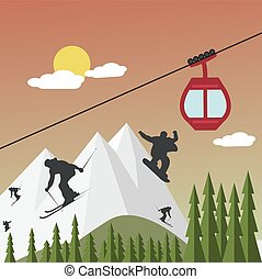 Snowboarders and skiers on the background of mountains and...