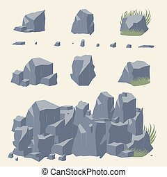 Rock stone vector. Rocks and stones icon. Set of Rocks and...