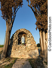 Old Wayside shrine in Lazise at Garda Lake in Italy