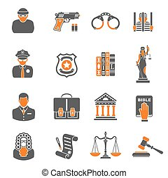 Crime and Punishment two color Icons - Set Crime and...
