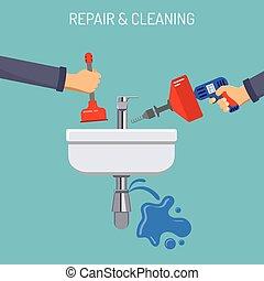 Plumbing Service Concept - Plumbing Service concept Repair...