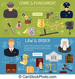 Law and order horizontal banners with flat icons Policeman,...