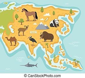 Asian map with wildlife animals vector illustration. Asian...