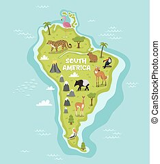 South american map with wildlife animals vector...