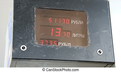 Litres and money counter at petrol station - Display with...