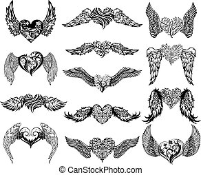 Hearts with Wings tattoo set - Hearts with wings set for...