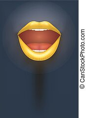 Night club Poster. Woman lips on dark Background. Party...
