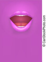 Night club Poster. Woman pink lips on pink Background. Party...