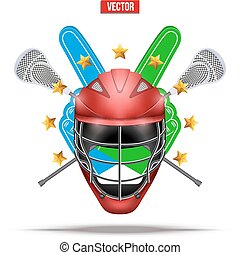 Lacrosse sticks and helmet Label - Label of Lacrosse symbol....
