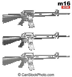 M16 rifle halftone set - Set of M16 rifle in vintage...
