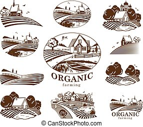 Organic farming design elements. - Vector design elements...