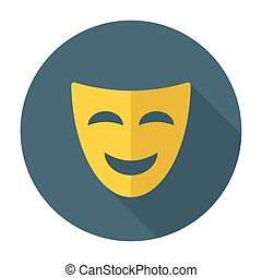 Comedy mask flat icon with long shadow