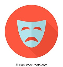 Tragedy mask flat icon with long shadow
