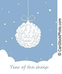 Christmas ball, made of sheep wool. - Christmas ball, made...