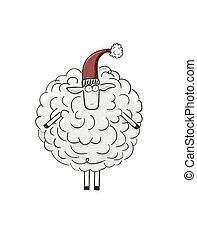 Christmas sheep with red cap. - Christmas sheep made of...