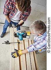 更老, 木制, 豎鋸, 木匠, 切, 使用, 板條