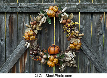 Autumn's Bounty Wreath - Decorative autumn wreath depicting...