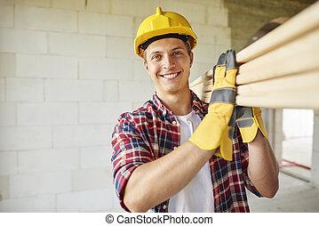 木制, 年輕, 握住, 木匠, 板條