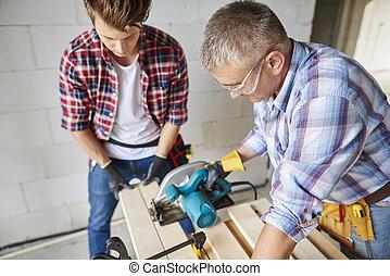 木制, 豎鋸, 木匠, 板條, 切割