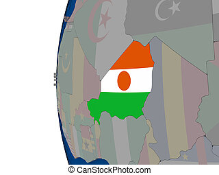Niger with national flag - Map of Niger with embedded...