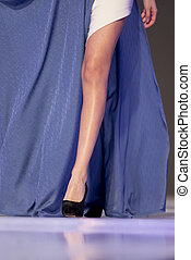 Sofia Fashion Week model's leg - A female model walks the...