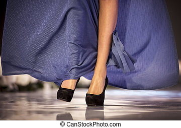 Sofia Fashion Week model's legs - A female model walks the...