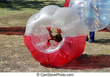 Bubble football game - Boys are playing bubble football game...