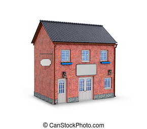 House on a white background. two-story brick house on a...
