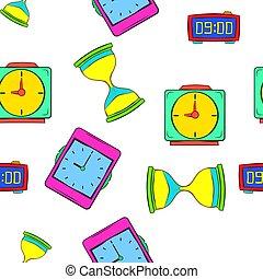 Watch pattern, cartoon style - Watch pattern. Cartoon...