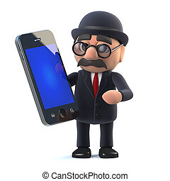 3d Bowler hatted British businessman has a new tablet phone...