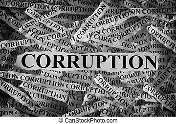 Torn pieces of paper with the word Corruption. Concept...