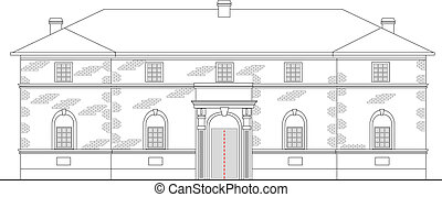 heritage mansion building viewed from front elevation on...