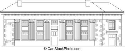 strip mall or shopping center building viewed from front elevation on white background