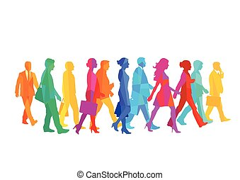 Leute gehen.eps - A group of people walking in the city....