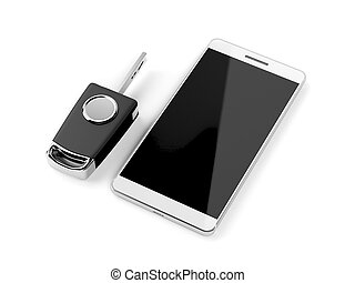 Car key and smartphone on white background