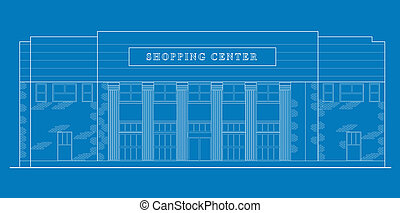 line drawing illustration of a strip mall or shopping center building viewed from front elevation on blue background