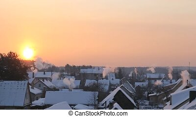 Snowy Town - Static video shot of little town's morning...