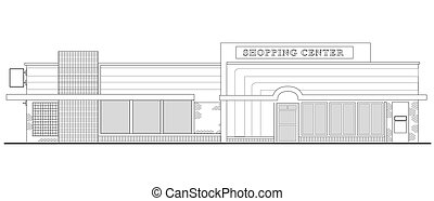 line drawing illustration of a strip mall or shopping center building viewed from front elevation on white background
