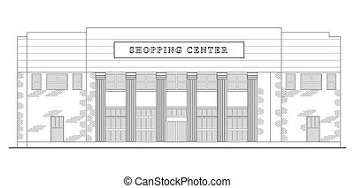 strip mall or shopping center building viewed from front...