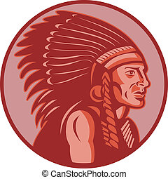 native american indian chief side view - vector illustration...